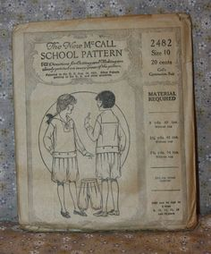 The New McCall School Pattern 2482 Girl's Gymnasium Suit Size 10 Patent 1921 | eBay