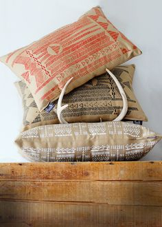 Black and Cornstalk - Modern Hand Printed Pillow