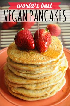 World's Best Vegan Pancakes - Light, fluffy and incredibly delicious. These really are the world's best vegan pancakes!