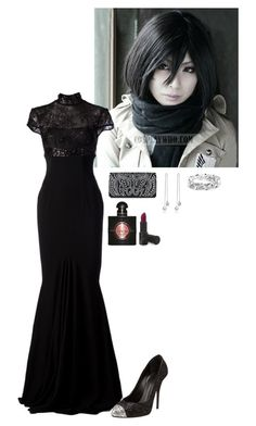 """Mikasa - Big Black Dress"" by kellyspanner ❤ liked on Polyvore featuring Mikasa, Alex Perry, Giuseppe Zanotti, Nina and Yves Saint Laurent"