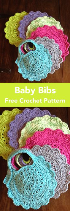 Sewing Gifts I don't know about you, but I love to crochet gifts for new babies. There's just something so personal and special about making an item especially for that new little life. Also, I find… Crochet Baby Bibs, Crochet Baby Clothes, Crochet Gifts, Crochet For Kids, Crochet Flower Patterns, Crochet Motif, Free Crochet, Knit Crochet, Yarn Projects