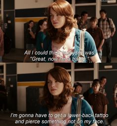 Easy A-  Emma Stone is brilliant in this! Series Movies, Film Movie, Movies And Tv Shows, Easy A Quotes, Favorite Movie Quotes, Good Movies To Watch, Tv Show Quotes, About Time Movie, Funny Movies