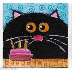 Original Acrylic Painting Whimsical Fat Cat Art Black Cat Cake 2 x 2 Inches | eBay