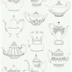 Vintage Tea Pots Wallpaper Silver / White by Fine Decor FD31192