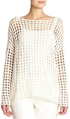Akris Grid-Knit Crochet Tunic