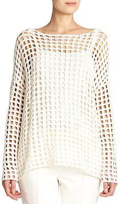 Akris Grid-Knit Crochet Tunic