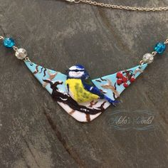 #Blue #tit #necklace entirely made out of #fimo / #polymerclay (no painting nor pastel) avaible on #Etsy