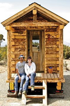 Wolf Brooks and Lyle Congdon built this cabin on a trailer and trucked it from Colorado, to Santa Fe, NM