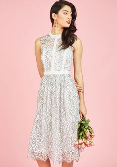 By combining your bright personality with the details of this white dress, you create a truly spectacular look. The lace neckline and shoulders, architectural piping, and black-outlined overlay of this ModCloth-exclusive midi are pretty on their own, but with your company, they become absolutely breathtaking!