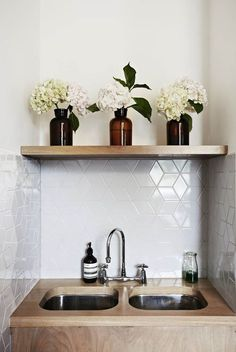 Be inspired by your favorite shops and cafes. We love the pattern of this tile backsplash, taking chic beyond subway tile. dustjacketattic:...