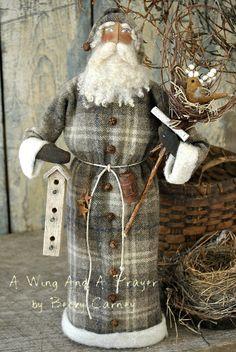 Primitive, Folk Art Spring Style, OOAK Bird Theme Santa... Olde Spring Thyme Santa