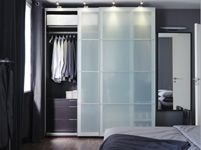 "PAX Wardrobe with interior organizers, black-brown, Sekken frosted glass - 78 3/4x26x93 1/8 "" - IKEA"
