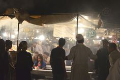 Food stalls at Jemaa el-Fnaa square in Marrakech