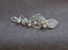 Rhinestone And Pearl Bridal Hair Clip / Austrian Crystal And Freshwater Pearl Bridal Handmade Hair Clip / Wedding / Bridesmaid Barrette by lyndahats on Etsy https://www.etsy.com/listing/159700019/rhinestone-and-pearl-bridal-hair-clip