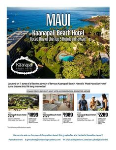 Hawaiis Most Hawaiian Hotel!  Amazing deals on right now that include flights and resort from Edmonton Vancouver and Toronto.  Why not add to your Hawaiian adventure and make it even more memorable?  I can arrange excursions like the waterfall & rainforest tour scuba diving coral reefs surf lessons or a bike tour down the worlds largest dormant volcano!  . #travel #lahaina #kaanapalibeach #mauidream #volcanoadventure