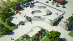 Concrete skatepark design with bowl & street section