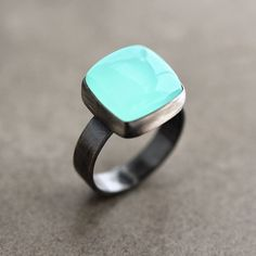 Aqua Chalcedony Ring, Seafoam Blue Green Chalcedony Oxidized Sterling Silver Ring