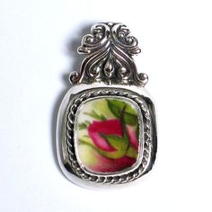 Broken China Jewelry - Old Country Roses - Flame Rose Bud - Sterling Silver Pendant via Etsy