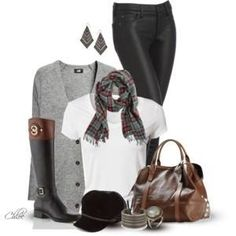 Designer Clothes, Shoes & Bags for Women Cute Fall Outfits, Winter Outfits, Cool Outfits, Winter Wear, Autumn Winter Fashion, Equestrian Chic, Equestrian Fashion, Jeans Style, Plaid Scarf