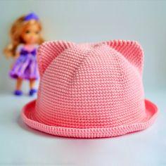 детская шляпка с ушками крючком Baby Girl Dresses, Baby Knitting, Crochet Projects, Crochet Hats, Beanie, Handmade, Caps Hats, Tricot, Handarbeit