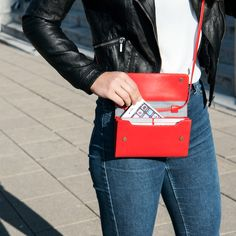Sophisticated bag, purse and clutch all in one. The unique leather accessory is available in tangerine red and many more colors here. Season Colors, Leather Accessories, Hermes Kelly, Wallets For Women, Mini Bag, All In One, Purses, Red, Bags
