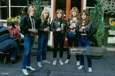 English heavy metal group Iron Maiden outside the Island Queen pub in Islington, London, 1982. Left to right: guitarist Adrian Smith, guitarist Dave Murray, singer Bruce Dickinson, drummer Clive Burr and bassist Steve Harris.