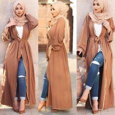 Details about Dubai Style Women Open Front Kaftan Abaya Muslim Cardigan Jilbab Robe Maxi Dress Modest Fashion Hijab, Modern Hijab Fashion, Muslim Women Fashion, Hijab Fashion Inspiration, Islamic Fashion, Abaya Fashion, Mode Inspiration, Dubai Fashion, Fashion Fashion