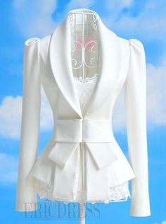$ 25.99 Charming V-Neck Long Sleeves Big Bowknot Coat