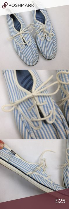 Keds Seersucker Shoes Size 10 Excellent condition Possibly vintage? Blue and white Size 10 Keds Shoes