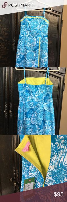 NWT Lilly Pulitzer romper/skort sz8 NWT Gorgeous Lilly Pulitzer romper sz 8 Jesse romper in Lion In The Sun pattern. Bright blue with yellow trim and lining. Back zip, smocked elastic on back, adjustable straps, shorts underneath skirt. This one is gorgeous.  It is perfect for welcoming warmer weather.  Great for vacation or everyday.  Make a reasonable offer. No trades. Lilly Pulitzer Pants Jumpsuits & Rompers
