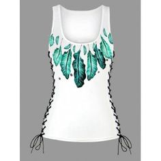 Feather Print Lace Up U Neck Tank Top - GREEN GREEN