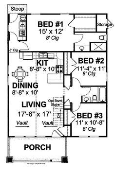Floor Plans AFLFPW17807 - 1 Story Traditional Home with 3 Bedrooms, 2 Bathrooms and 1,260 total Square Feet