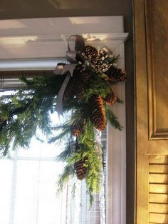 Pine cone garland. This would be perfect with a wide plaid ribbon and some berries.