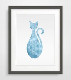 Geometric Cat Blue Printable art Wall Prints Wall by PinkLemonArts