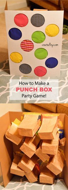 "Guaranteed to be a hit! This ""punch box"" is a super fun party game where each child punches through a pretty paper-covered hole to grab a prize inside."