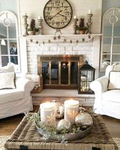 Gorgeous French Country Living Room Decor Ideas, mirrors framing the fireplace and clock over mantle. Beautiful farmhouse living room decor
