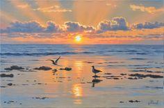 Watercolor Landscape Paintings, Seascape Paintings, Cool Paintings, Abstract Landscape, Boat Painting, Fantasy Landscape, Ocean Art, Beach Art, Beautiful Landscapes