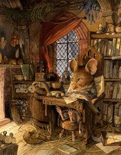 Jacques' Rest by Chris Dunn Illustration/Fine Art: Gallery Fantasy Kunst, Fantasy Art, Chris Dunn, Art Fantaisiste, Dibujos Cute, Fairytale Art, Inspiration Art, Beatrix Potter, Children's Book Illustration