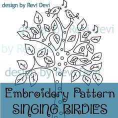 Singing Birdies 15017 - Cute Embroidery Pattern - PDF download - Whimsical design