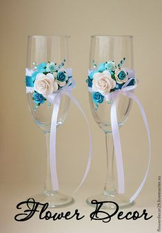 Similar items available for purchase through PIC Artisans. Custom ordering also available. Wedding Wine Glasses, Wedding Champagne Flutes, Champagne Glasses, Decorated Wine Glasses, Painted Wine Glasses, Glitter Glasses, Wine Glass Crafts, Wedding Crafts, Bottle Art