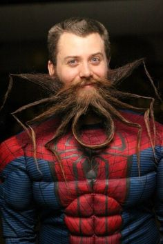 Spider Man w Spider Beard- I wonder if he drank some of that new Beard Beer from Rouge Brewery?