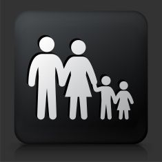 Black Square Button with Family Icon vector art illustration