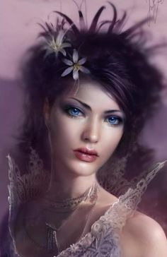 Fantasy art. Female, goddess, princess, lavender.