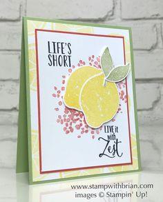 Lemon Zest, Lemon Builder Punch, Stampin' Up! Lemon Crafts, Stampin Up Catalog, Embossed Cards, Card Making Inspiration, Card Sketches, Stamping Up, Recipe Cards, Cool Cards, Greeting Cards Handmade