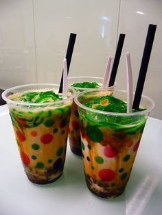 Cendol is a very popular sweet drink (sometimes consumed as dessert) in Southeast Asia that is often sold by roadside hawkers and at food courts. It is usually made with coconut milk, shaved ice, palm sugar (gula melaka) and green jelly that looks like worms. (via the thefoodpornographer.com)