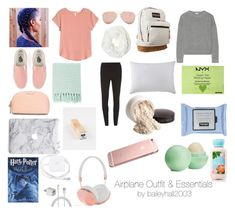"""""""Airplane Outfit & Essentials"""" by baileyhall2003 ❤ liked on Polyvore featuring Dorothy Perkins, H&M, Issa, Vans, JanSport, Frends, MICHAEL Michael Kors, Neutrogena, Eos and NYX"""