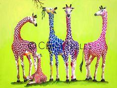 Giraffe Family on Spring Green Giraffe Family, Spring Green, Artist, Animals, Animales, Animaux, Artists, Animal, Animais