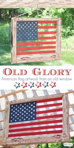 d096a874d013 DIY American Flag Art from an Old Window · Patriotic CraftsPatriotic  DecorationsAmericana ...