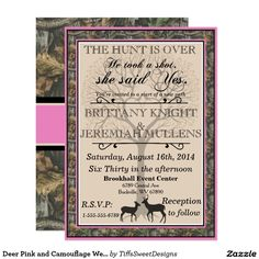 The Hunt is Over Wedding Invitation w/RSVP or Reception Cards PINK ...