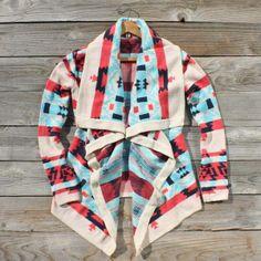 Navajo print sweaters.